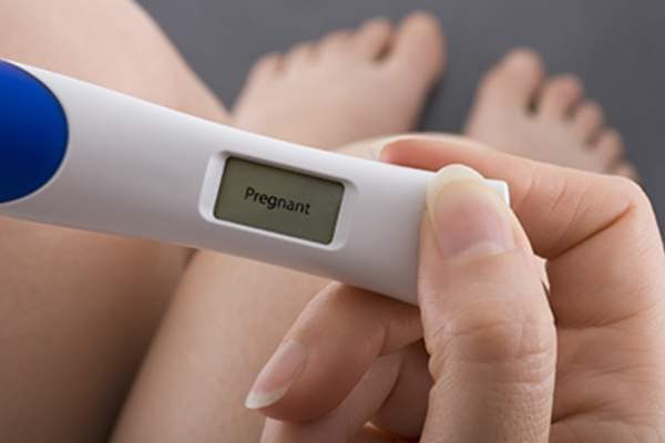 Positive result on digital pregnancy test.