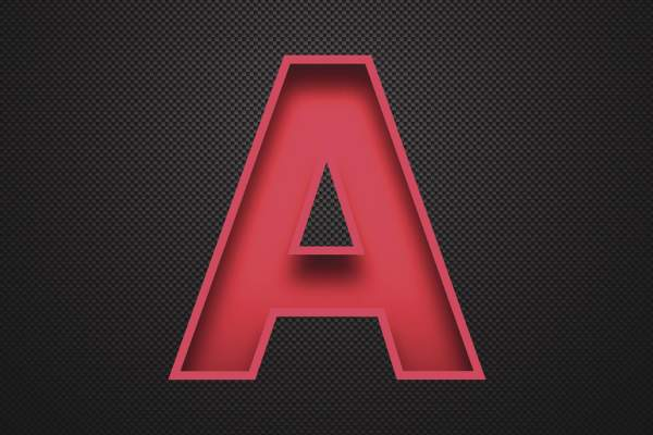Alphabet A Design - Red Letter on Carbon Fiber Background