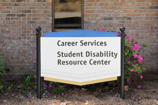 Career services and student disability resource center sign.