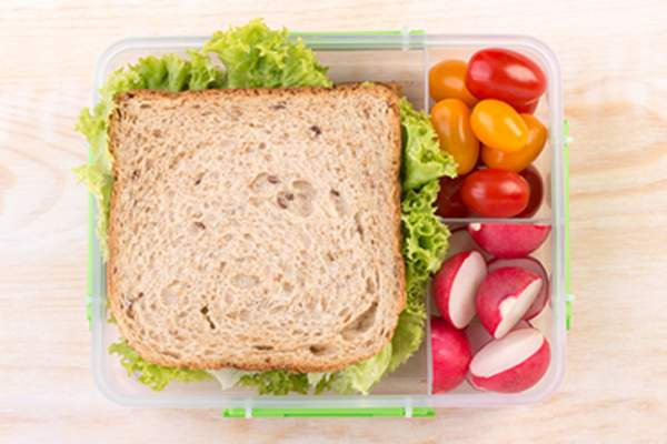Sandwich and raw vegetables packed in plastic container.