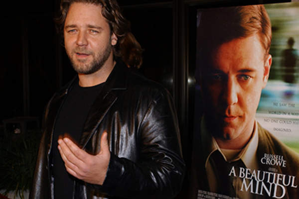 Actor Russell Crowe attends the premiere of the film 'A Beautiful Mind.'