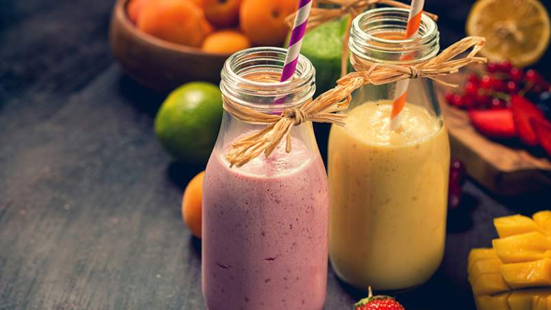 Fruit smoothies and fruit.