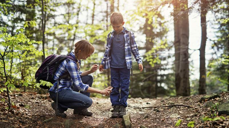 Mother putting insect spray on son on hike in woods.
