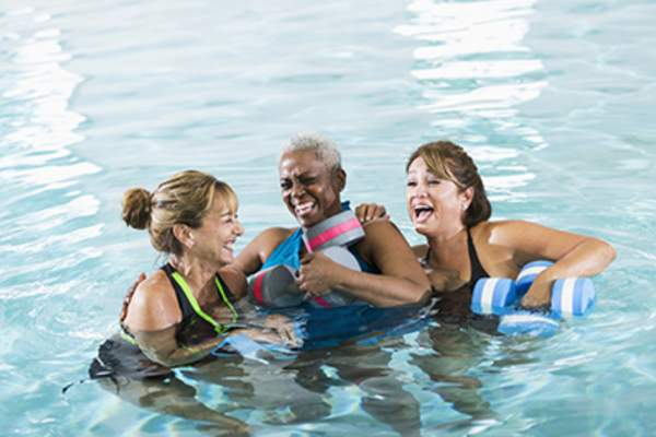 Smiling women in water aerobics class.