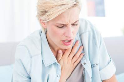 woman having breath difficulties