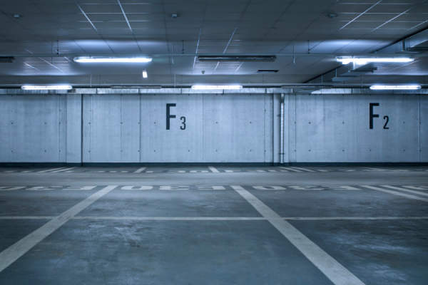 parking garage with F3 and F2 painted