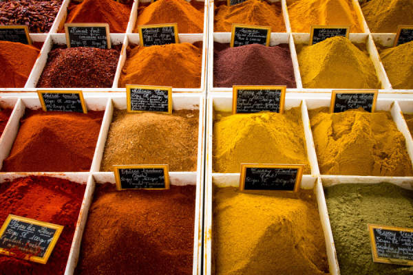 spice stand at market