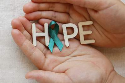 "Ovarian cancer hope, with a teal ribbon representing the ""o"" in hope."