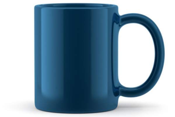 Blue coffee mug.