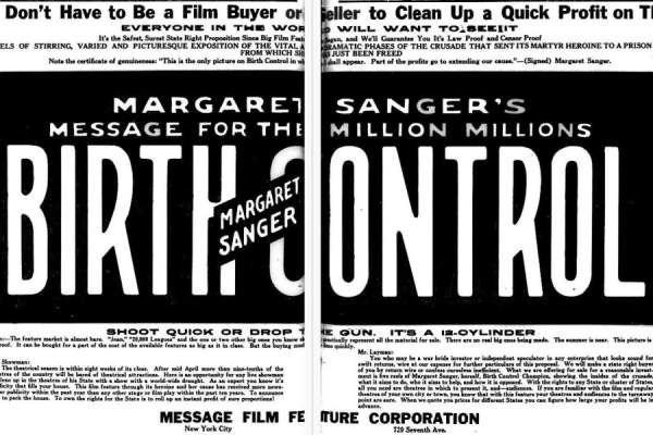 Two page advertisement for Margaret Sanger's American documentary film Birth Control (1917)
