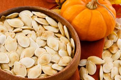 Roasted pumpkin seeds.