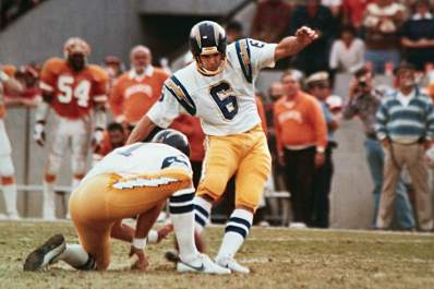 Rolf Benirschke kicking game winner in 1981.