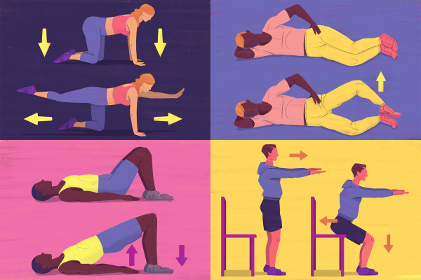 4 MS exercise illustrations - Bird Dog, Clamshell, Glute Bridge, and Sit-to-Stand