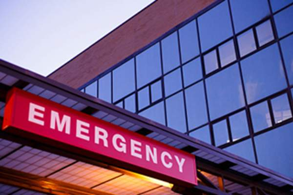 Emergency department sign at hospital.