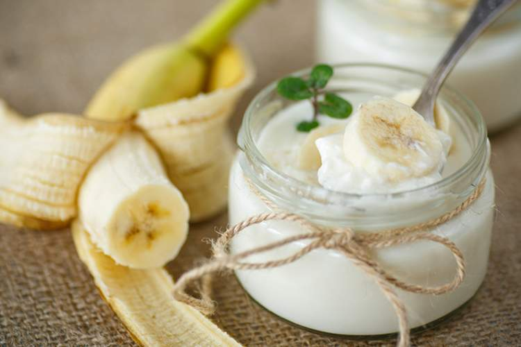 Banana and yogurt.