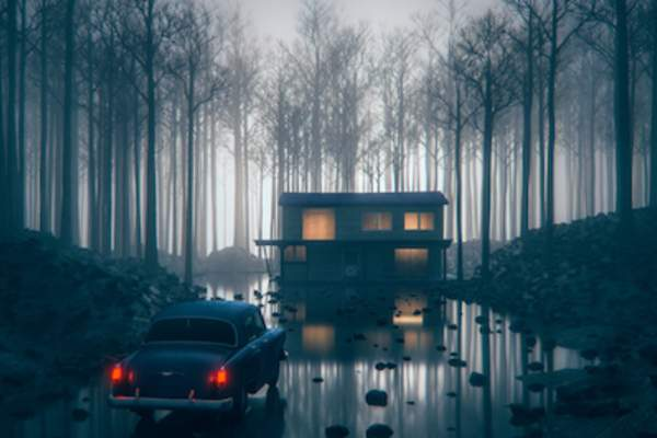 Nightmare, old car driving on road of water up to dark creepy cabin.