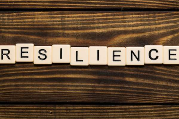 Resilience spelled out in scrabble letters.