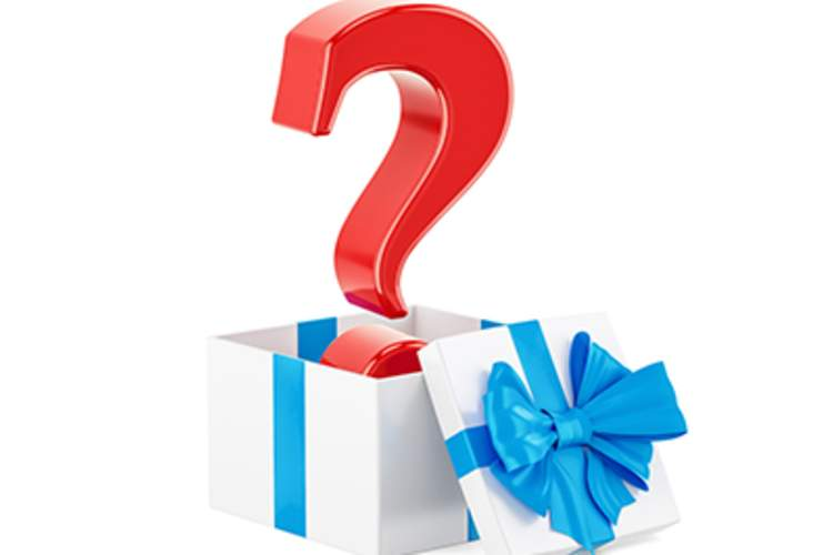 A gift box with a question mark inside.