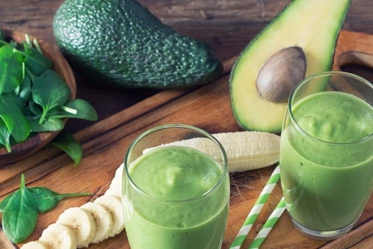 Avocado and spinach smoothie.