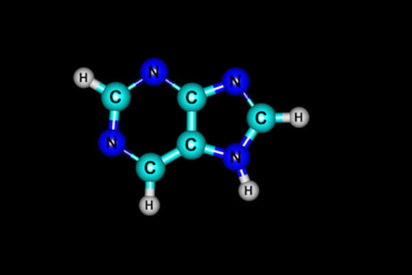 Purine molecular structure isolated on black