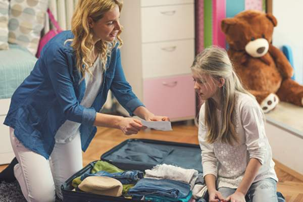 mother and daughter preparing for a trip image