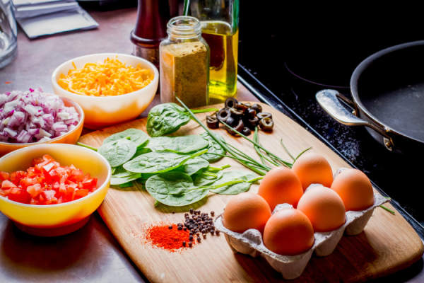 Low Carb Omelette ingredients in kitchen