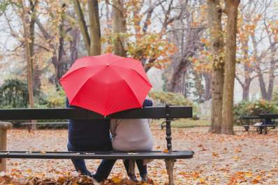 Couple sitting on park bench under umbrella, fall day in park.