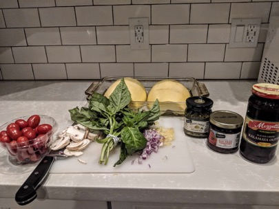 Ingredients for Spaghetti Squash Pesto Bake.