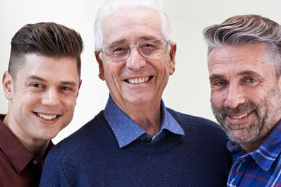 Three generations of men portrait.