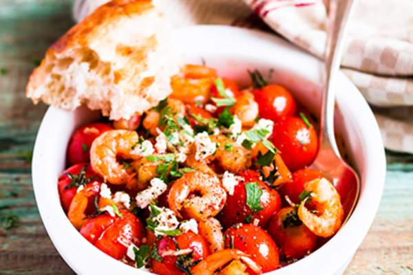 Shrimp and tomatoes with feta cheese.