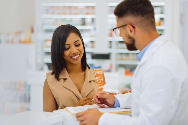 talking to pharmacist
