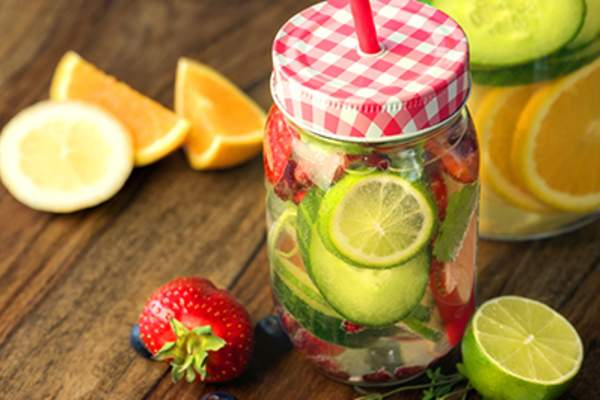 Infused fruit water.