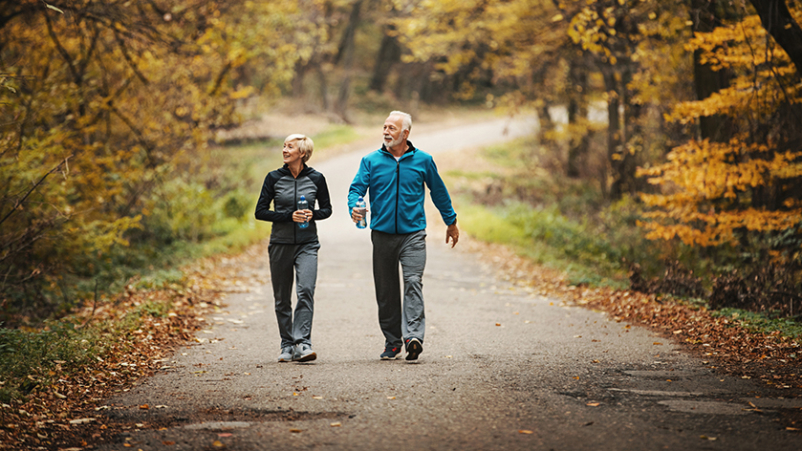 Seniors walking in a park.