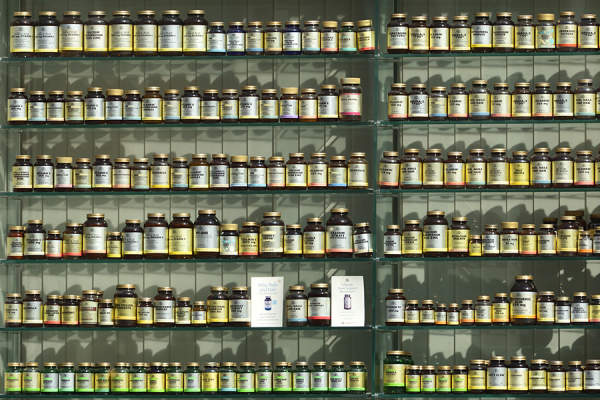 Rows of supplements in store