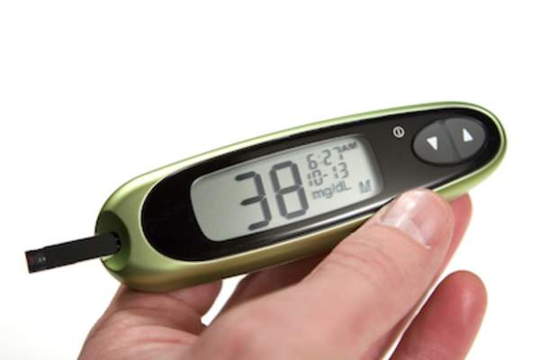 Low glucose reading on blood glucose monitor.