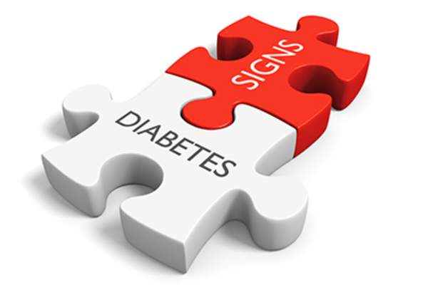 Diabetes signs puzzle pieces.