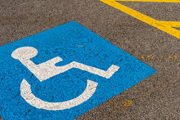 Handicapped parking space.