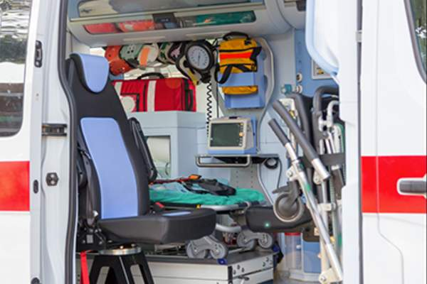 Inside ambulance.
