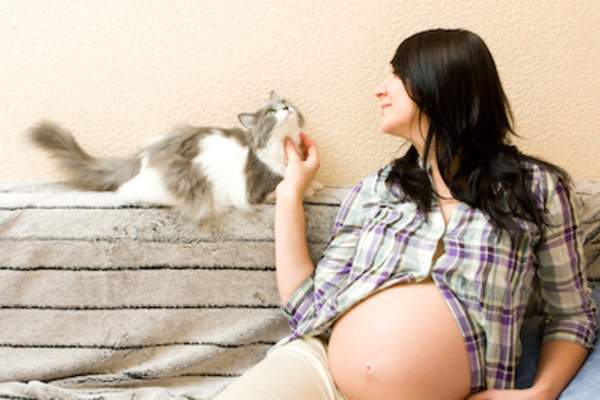 Pregnant woman with her cat.