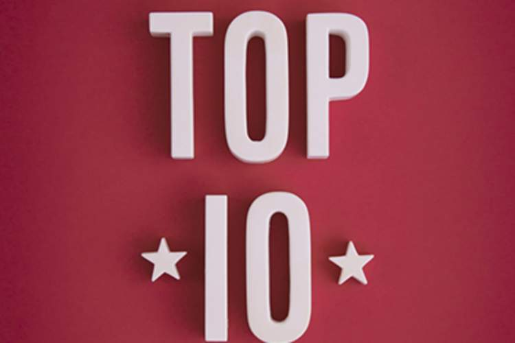 Top 10 letters on red background.
