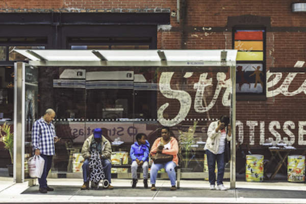 New York city bus stop.