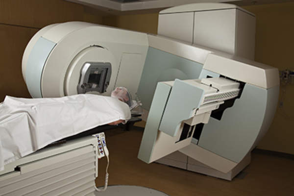 Patient undergoing radiation therapy to treat leukemia.