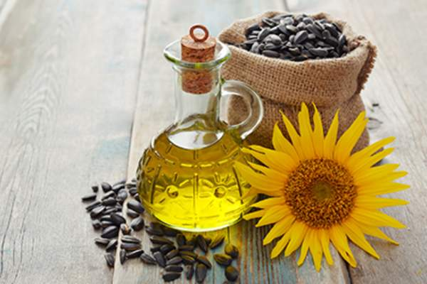 Sunflower oil in a bottle.