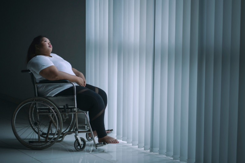 obese woman in wheelchair