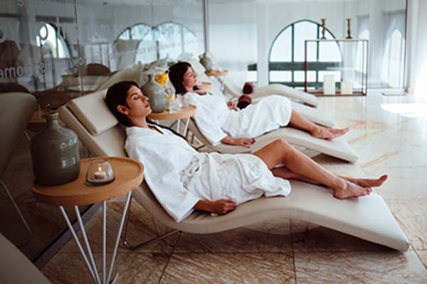 Friends relaxing at a spa together.