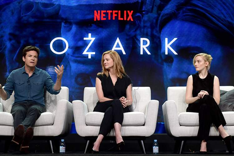Jason Bateman, Laura Linney and Julia Garner of 'Ozark' speak onstage during Netflix TCA 2018 at The Beverly Hilton Hotel