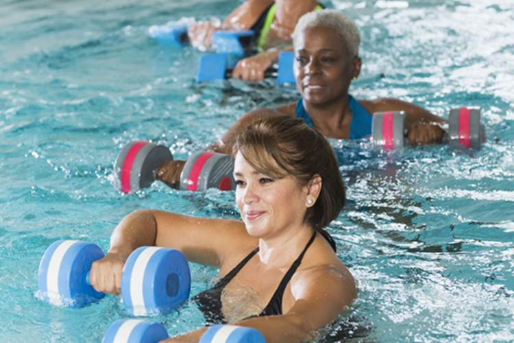 Women in water exercise class.