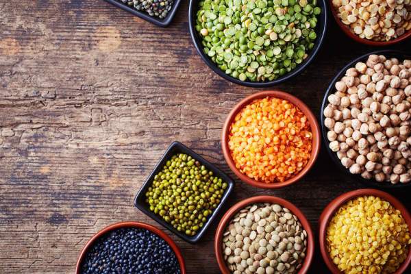 Legumes in various bowls.