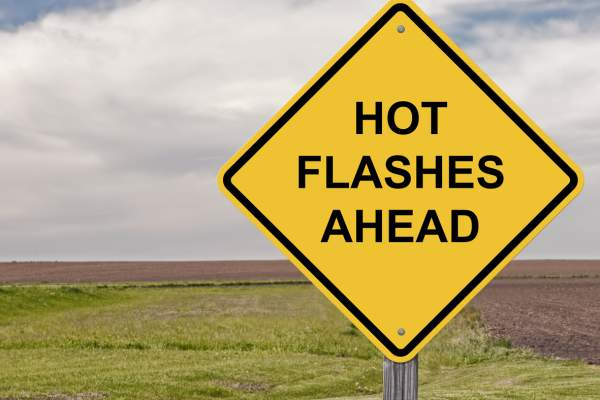 Caution sign hot flashes ahead.
