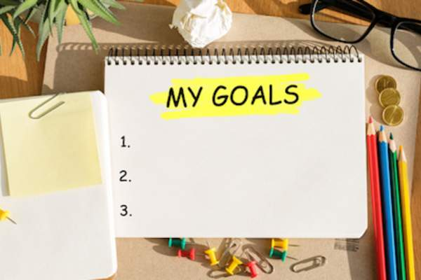 My Goals written on note pad.